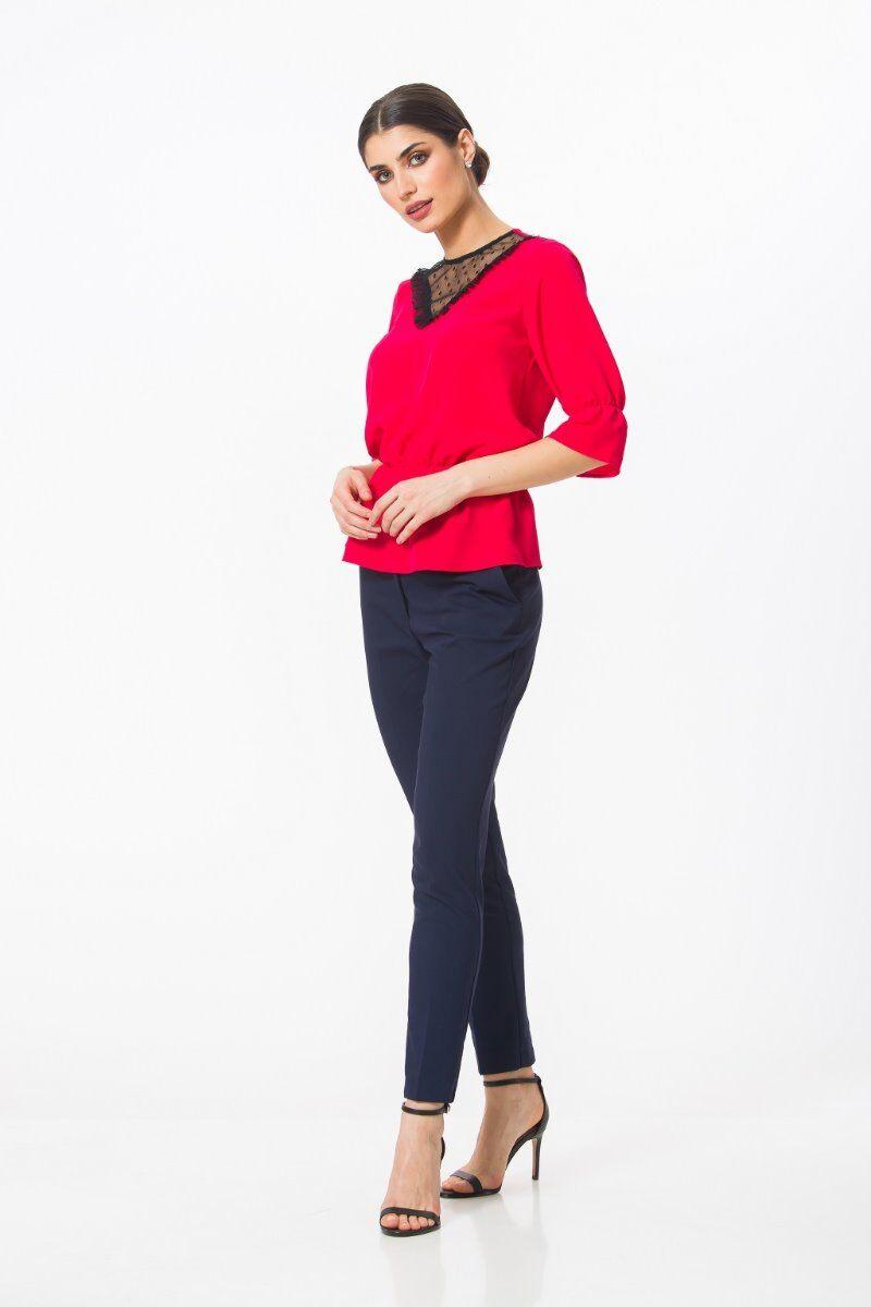 Bluza eleganta PREMIUM Rubin cu elastic si tulle DP002R