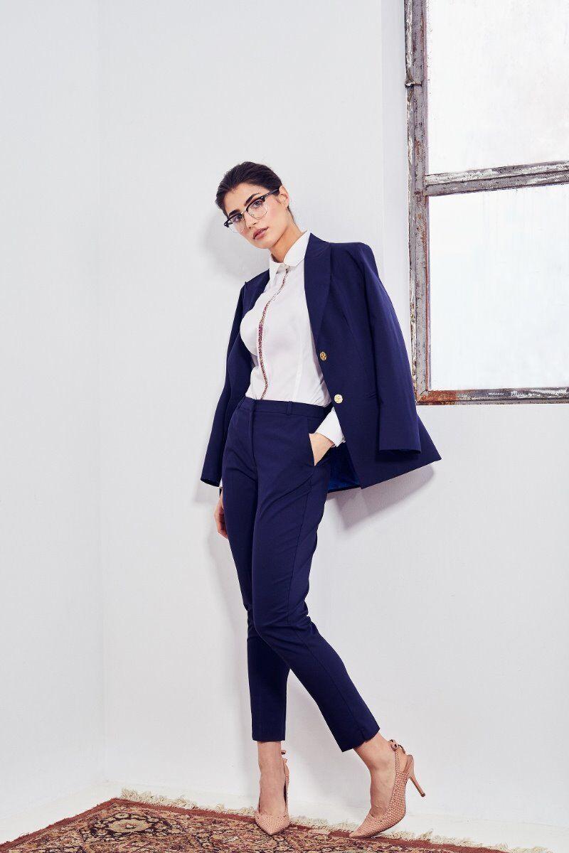 pantaloni DAMES de craciun bleumarin eleganti cu buzunare