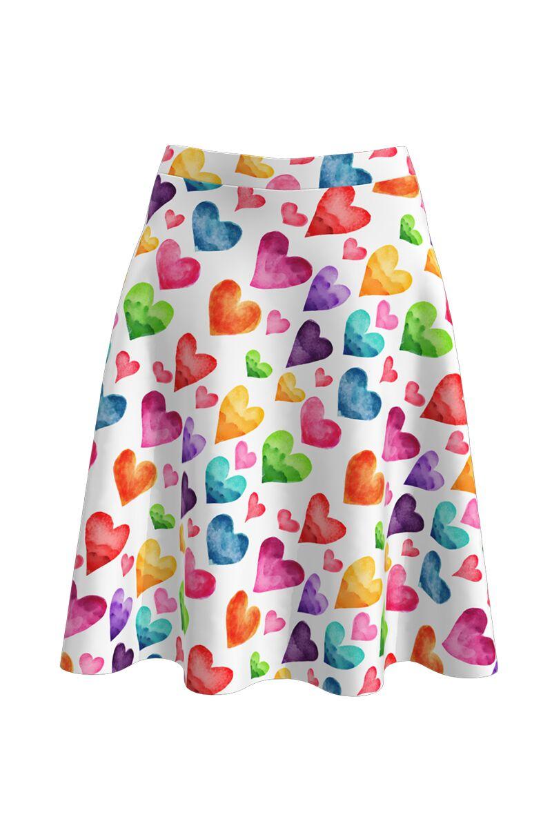 Fustă cloș imprimată digital Colorful Love A817-I20