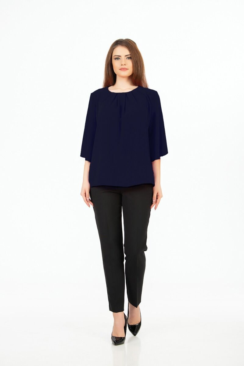 Bluza eleganta ,bleumarin cu plii M1085N