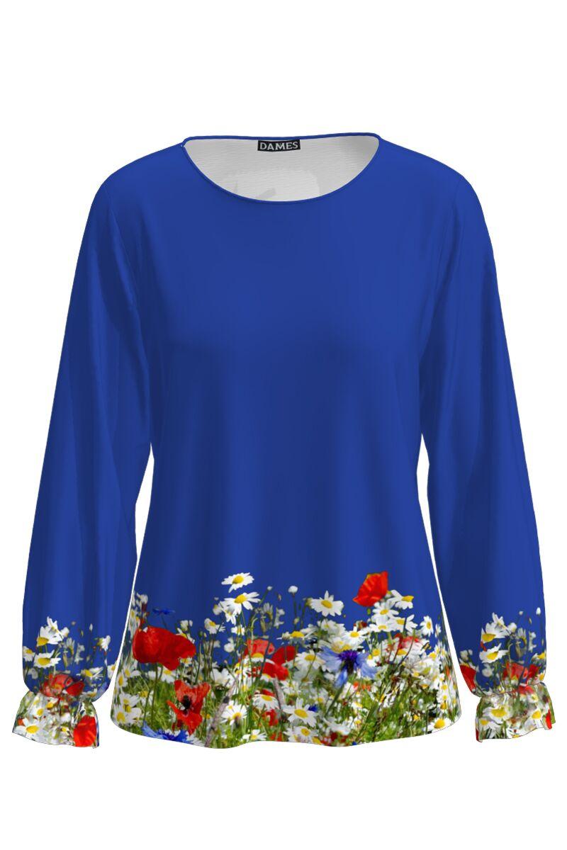 Bluza albastra  imprimata digital Flori de camp CMD697