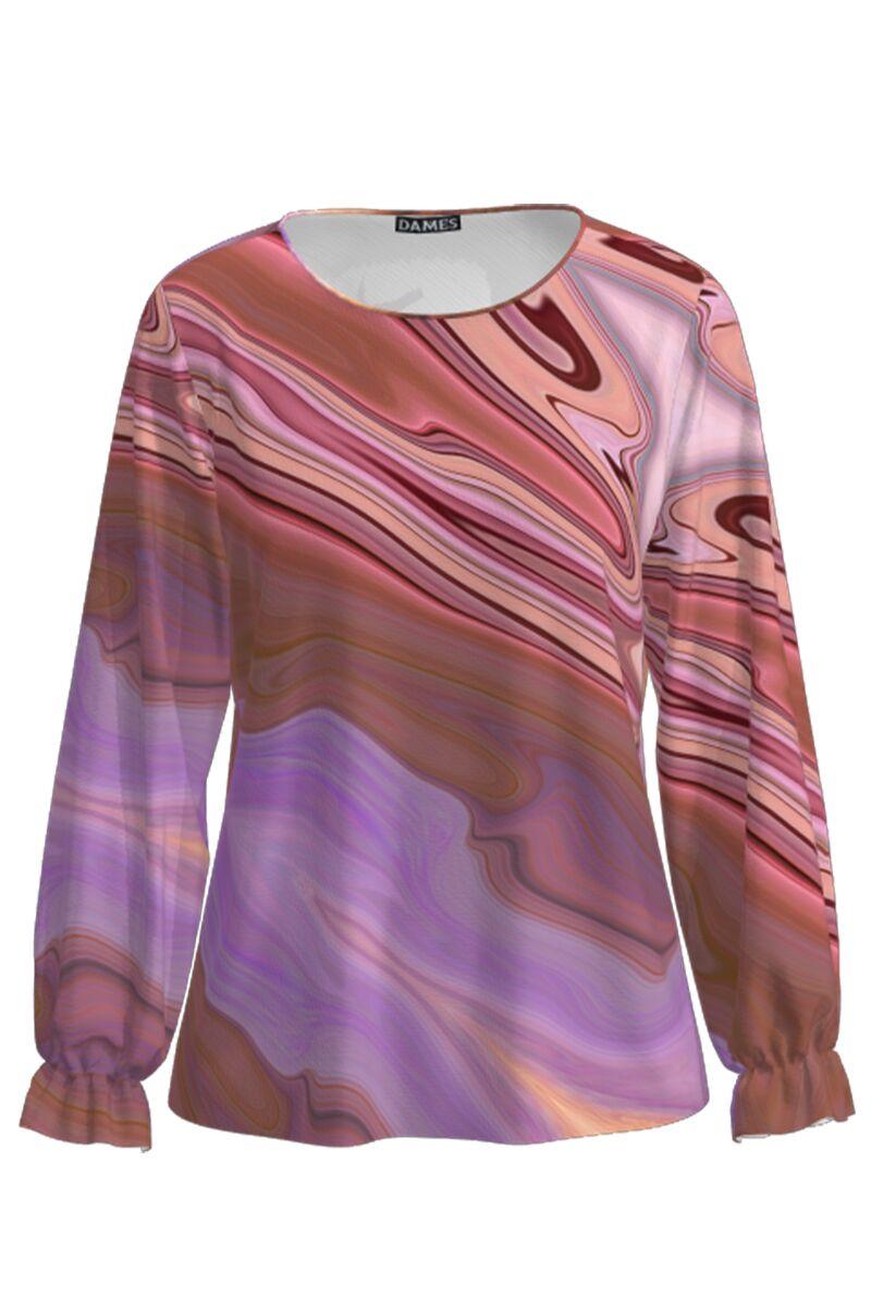 Bluza in nuante de mov imprimata digital CMD827