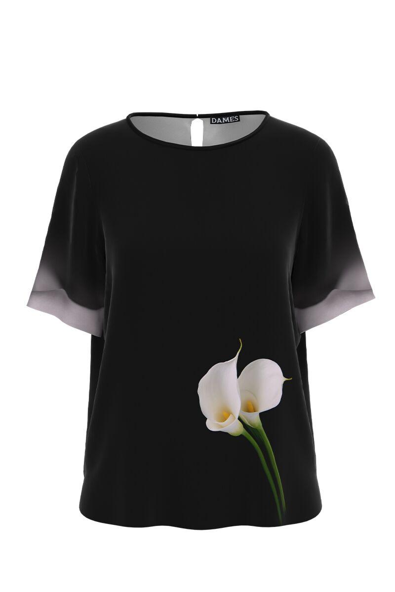 Bluza neagra de vara cu maneca scurta si imprimeu Cale CMD999