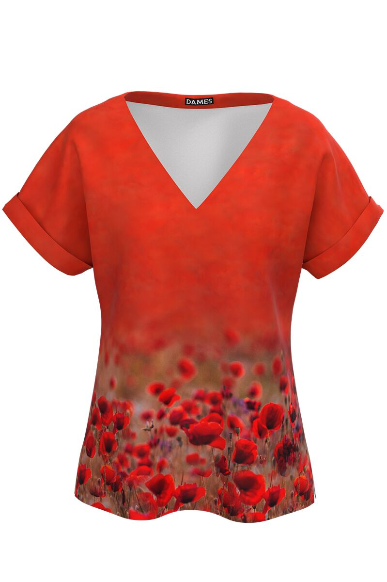 Bluza  rosu corai imprimata digital maci CMD949