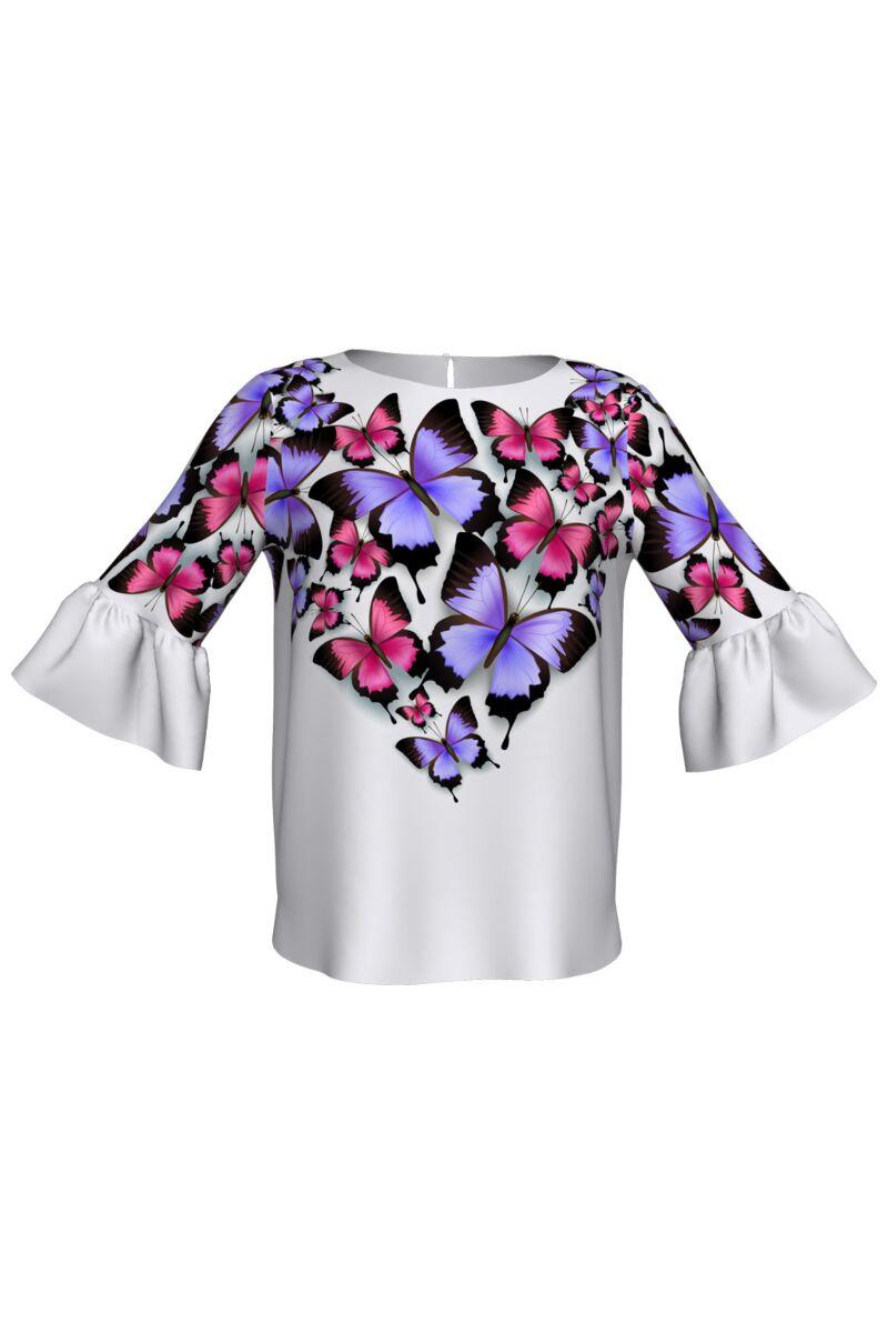 Bluza DAMES cu maneca clopot si fluturi multicolori imprimati