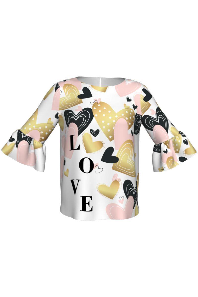 bluza DAMES cu maneca clopot imprimata digital love