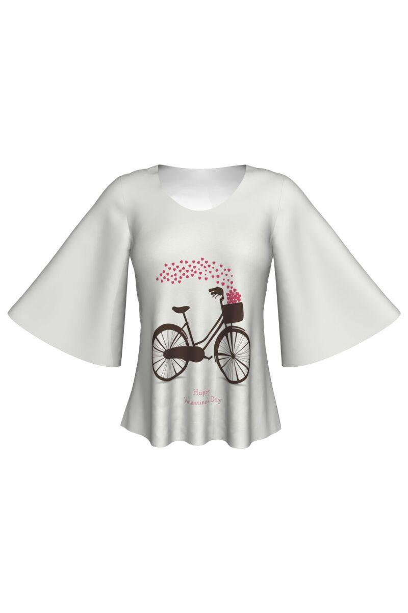 Bluză  DAMES albă imprimată digital cu bicicletă şi inimioare