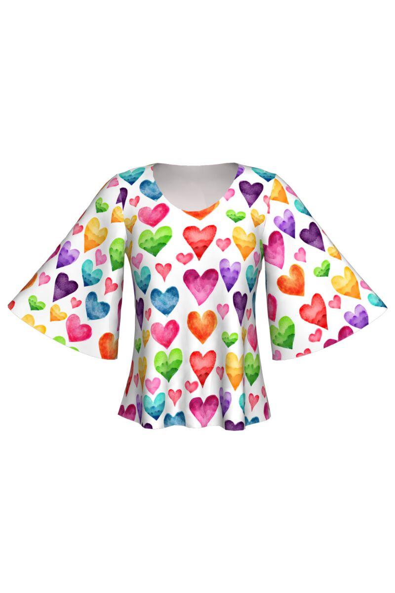 Bluza DAMES cu maneca fluture imprimata cu inimi colorate