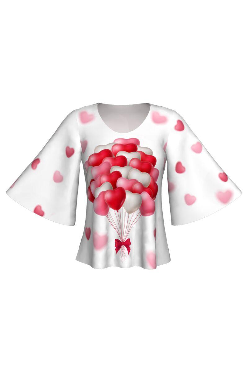Bluză DAMES cu mâneci tip fluture imprimată digital Balloon Hearts