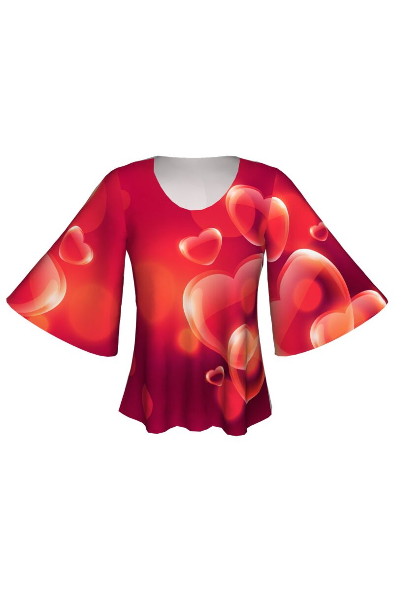 bluză roșie DAMES, cu inimioare 3D imprimate digital