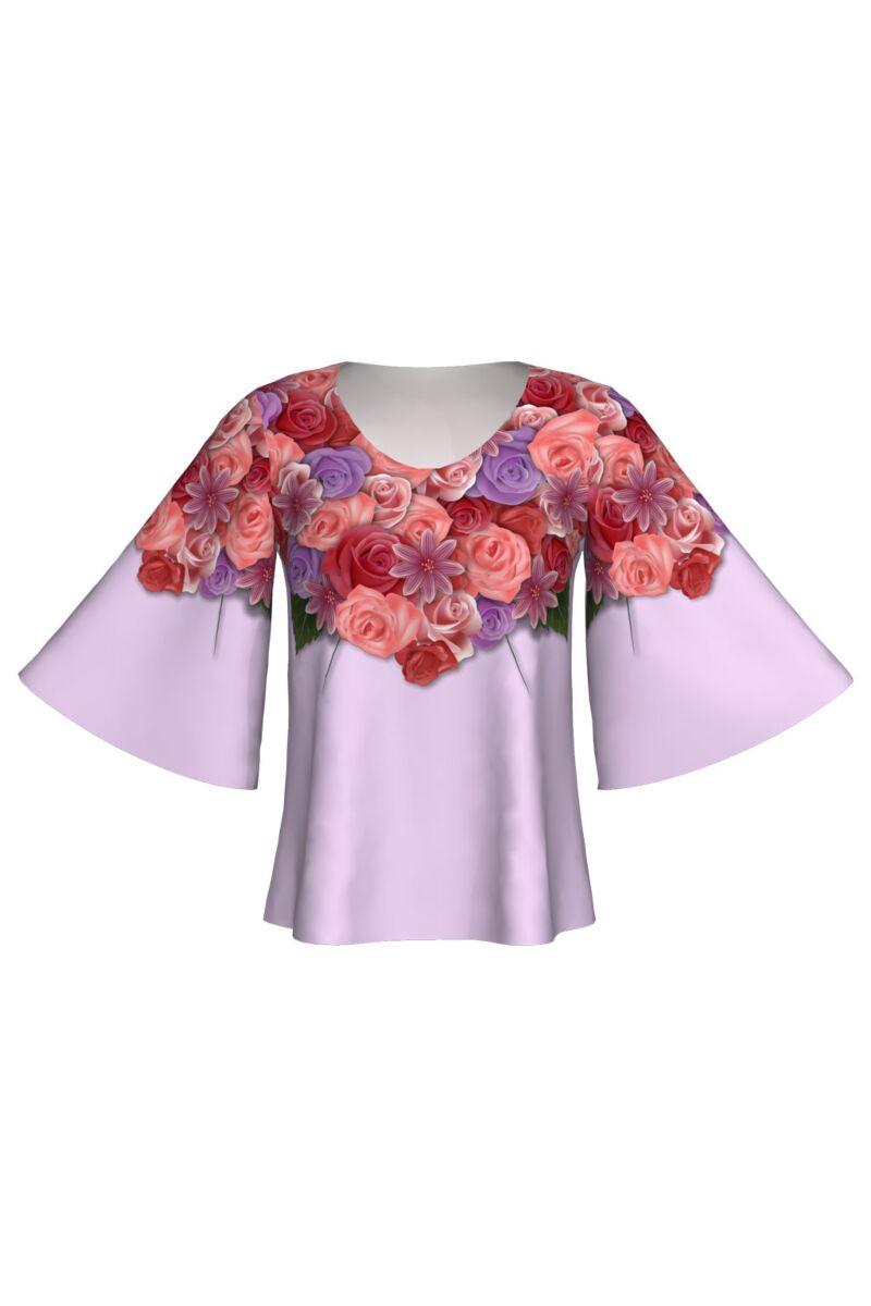 bluza DAMES cu maneca fluture lila cu flori imprimate