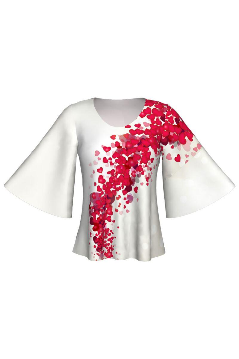 Bluză DAMES cu inimioare imprimate digital, model specific Zilei Îndrăgostiţilor