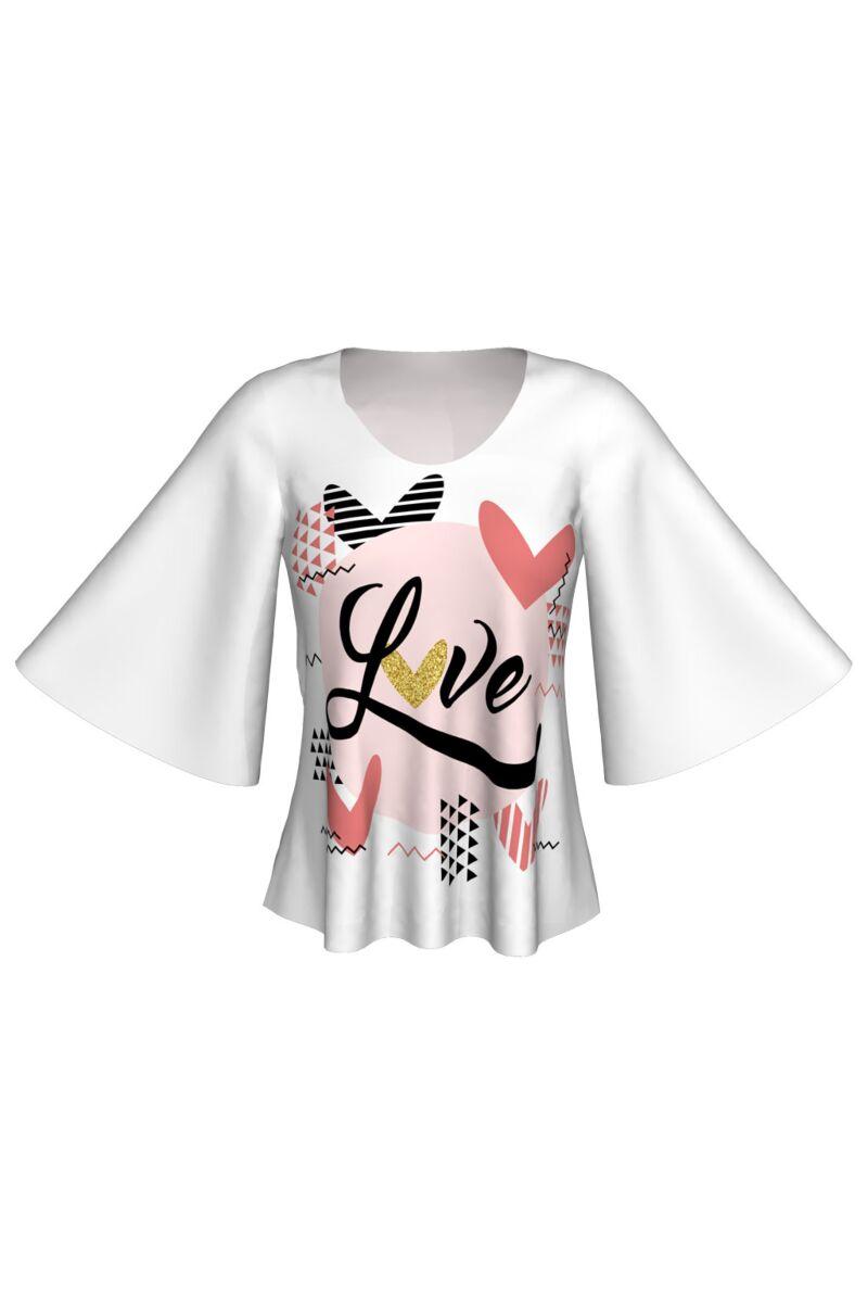 Bluza DAMES alba u imprimeu digital LOVE