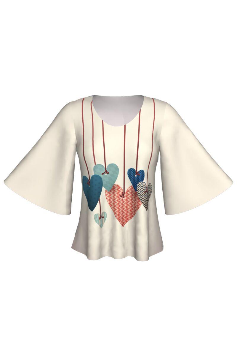 bluza DAMES cu maneca fluture inimi imprimate