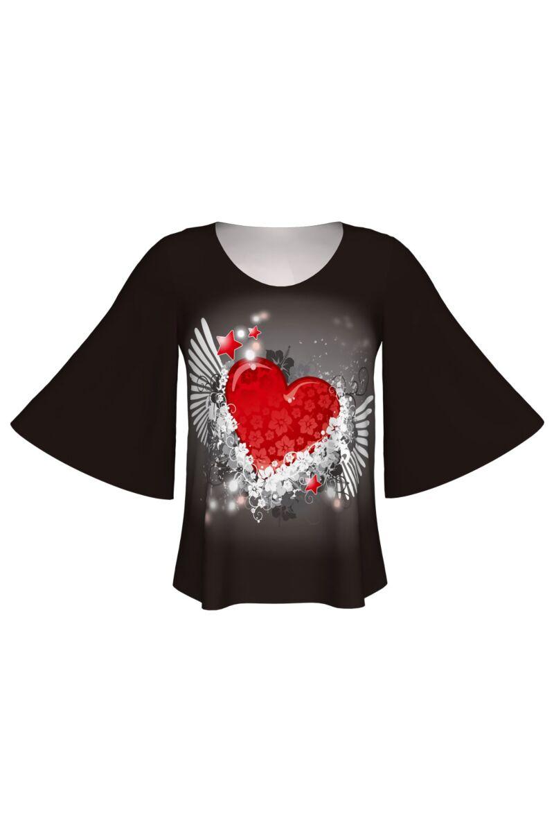 Bluză DAMES cu inimă 3D imprimată digital, model specific Zilei Îndrăgostiţilor