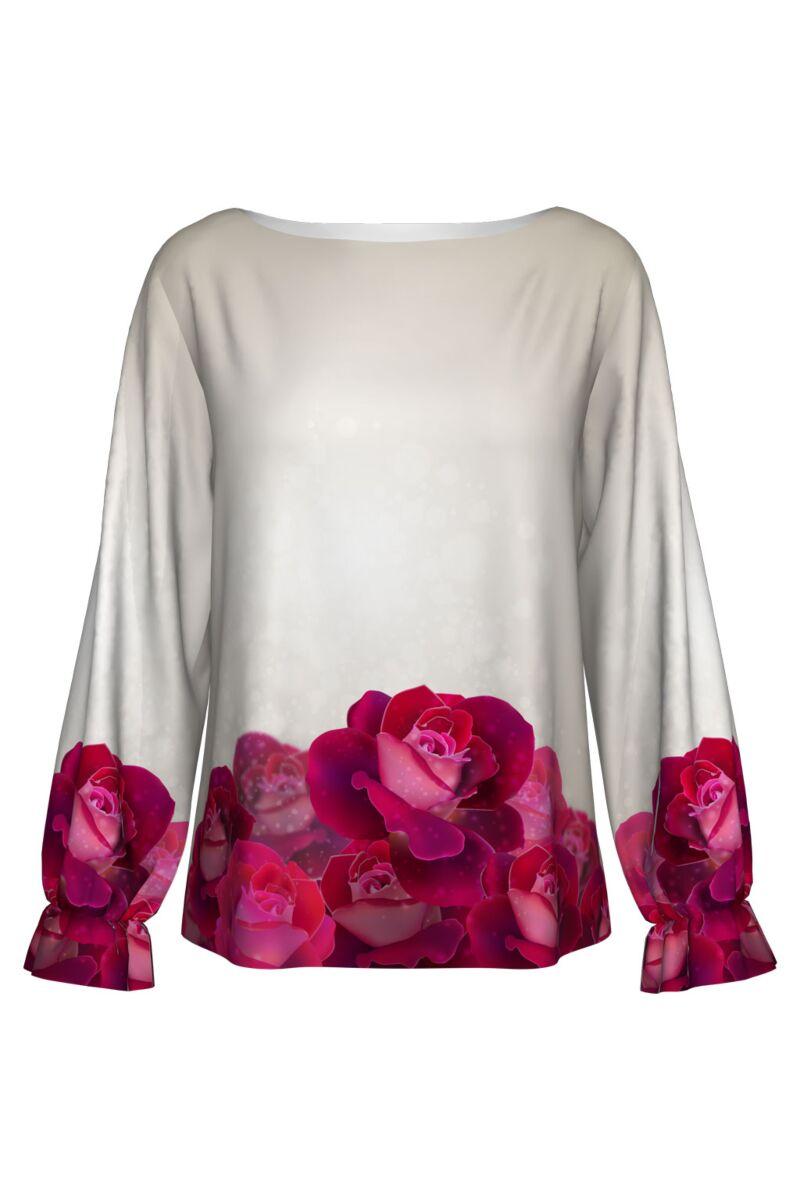 Bluză DAMES albă, cu trandafiri, imprimaţi digital.