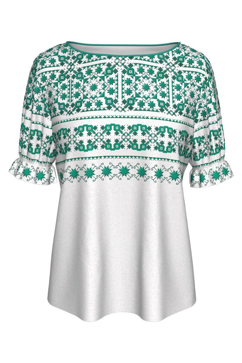 Bluză imprimata cu motive tradiționale turcoaz MC22