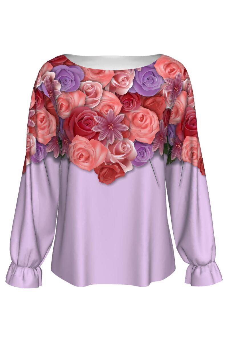Bluză DAMES lila cu flori imprimată digital, model specific Zilei Îndrăgostiţilor.