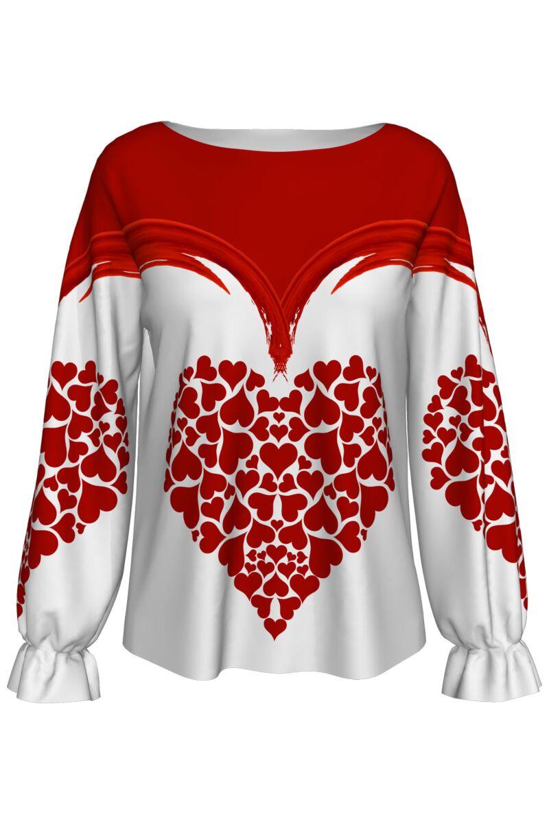 Bluza DAMES alba imprimata cu inimi rosii Valentines Day