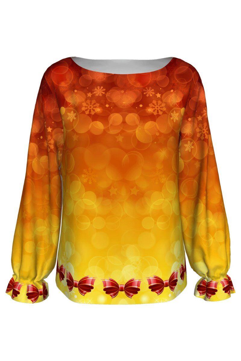bluza DAMES cu maneca lunga rosu galben imprimata cu decoratiuni de Craciun