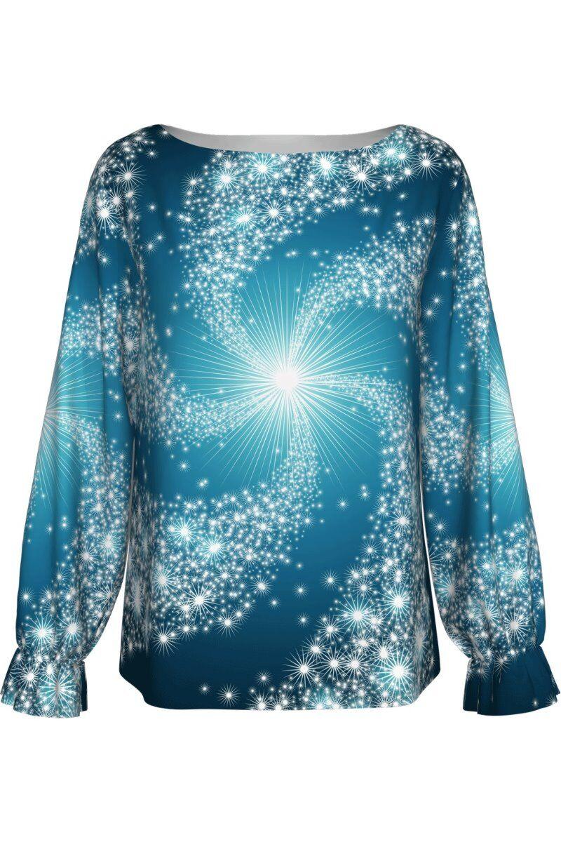 bluza DAMES albastra imprimata digital cu motive de Craciun