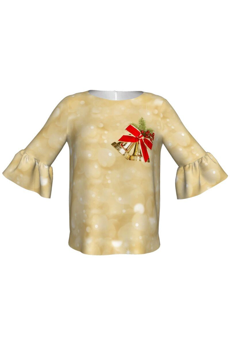 Bluza DAMES bej cu imprimeu clopotel decorativ de Craciun