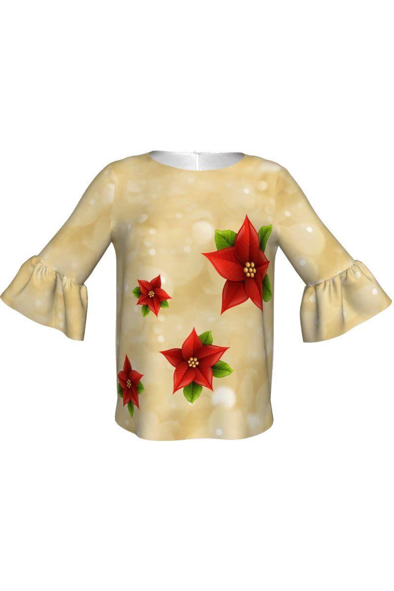 Bluza DAMES bej cu maneca trei sferturi imprimata cu flori de Craciun