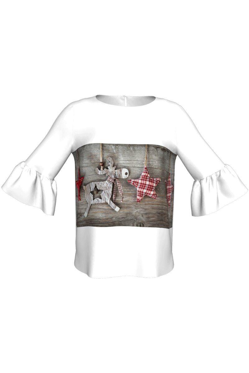 Bluza DAMES alba imprimata digital de Craciun ren
