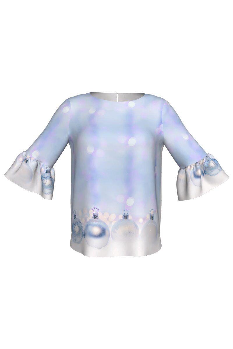 Bluza DAMES bleu cu maneca trei sferturi  imprimata cu motive de Craciun