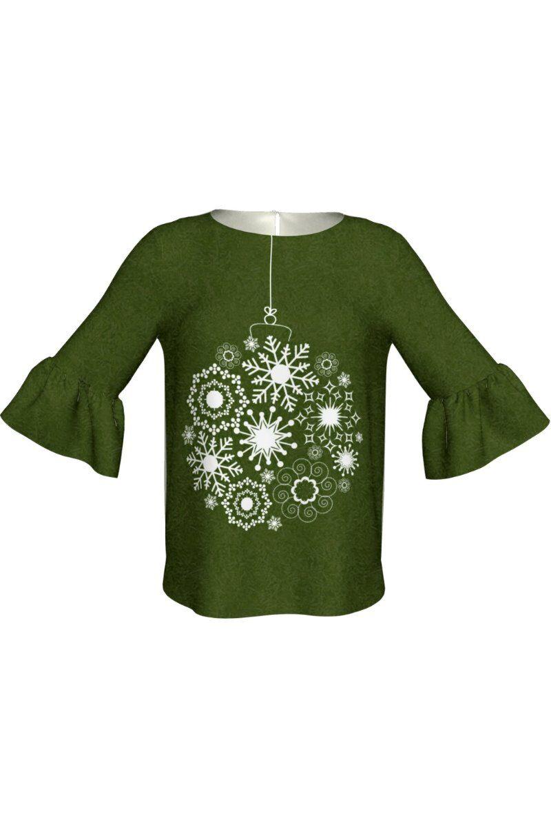 Bluza DAMES verde imprimata cu decoratiuni de Craciun