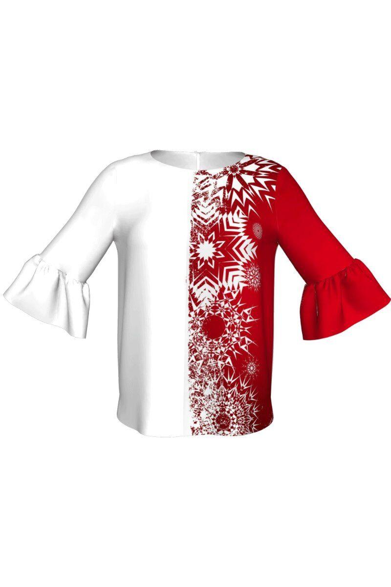 Bluza DAMES imprimata in nuante  alb rosu de Craciun