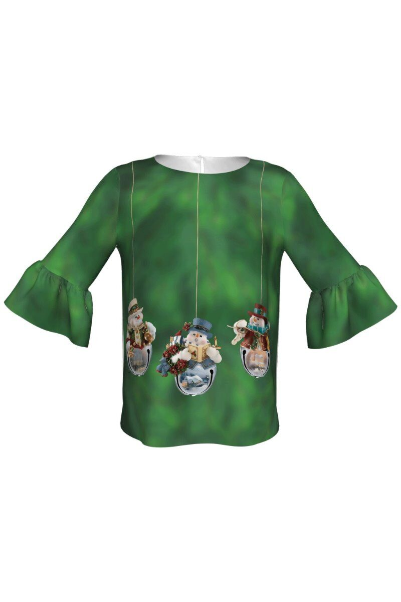 bluza DAMES verde imprimata cu motive de Craciun