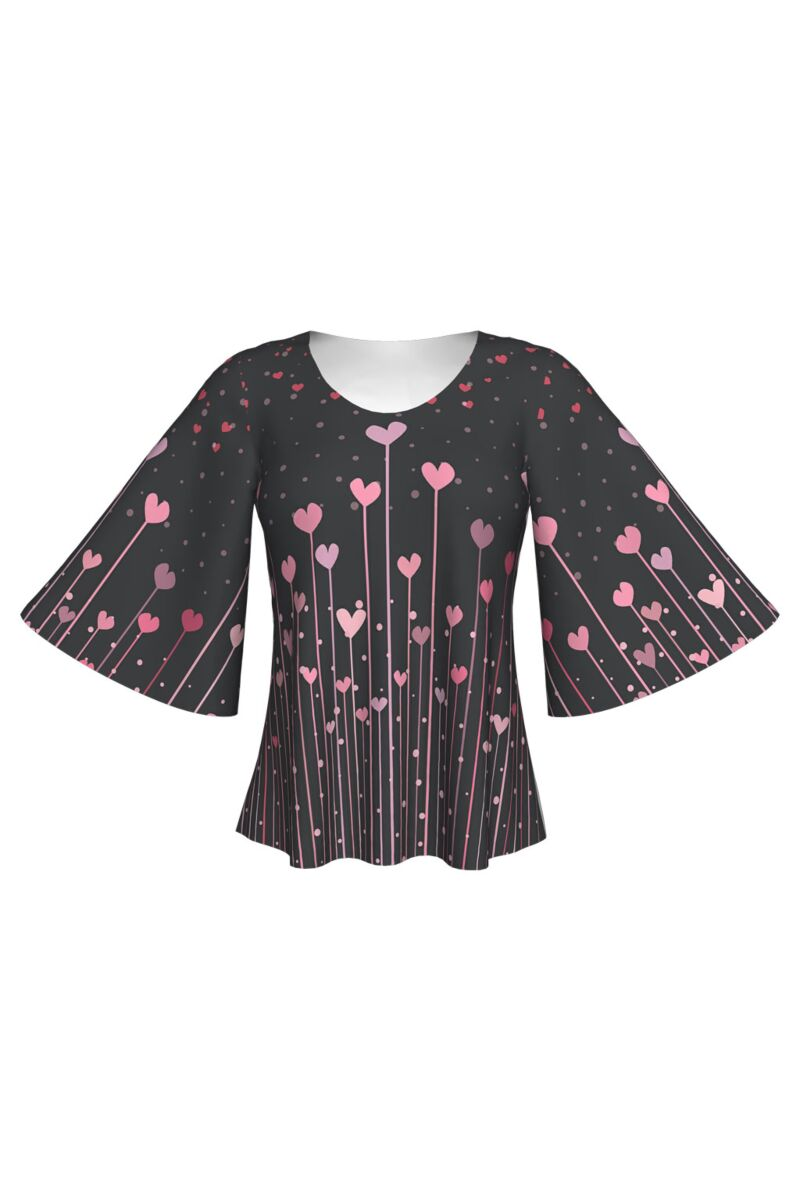 Bluză imprimată digital, Pink Hearts A845-I6