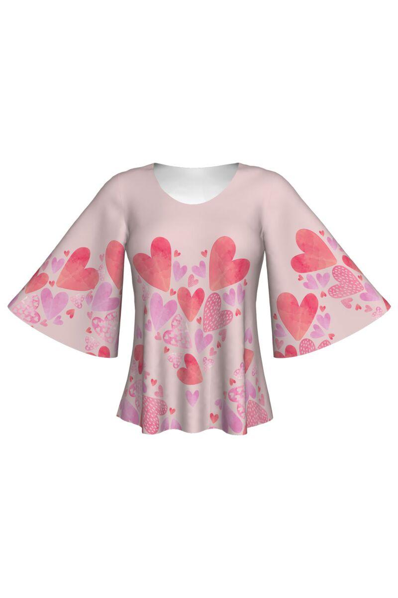 Bluză imprimată digital, Pink Love A845-I7