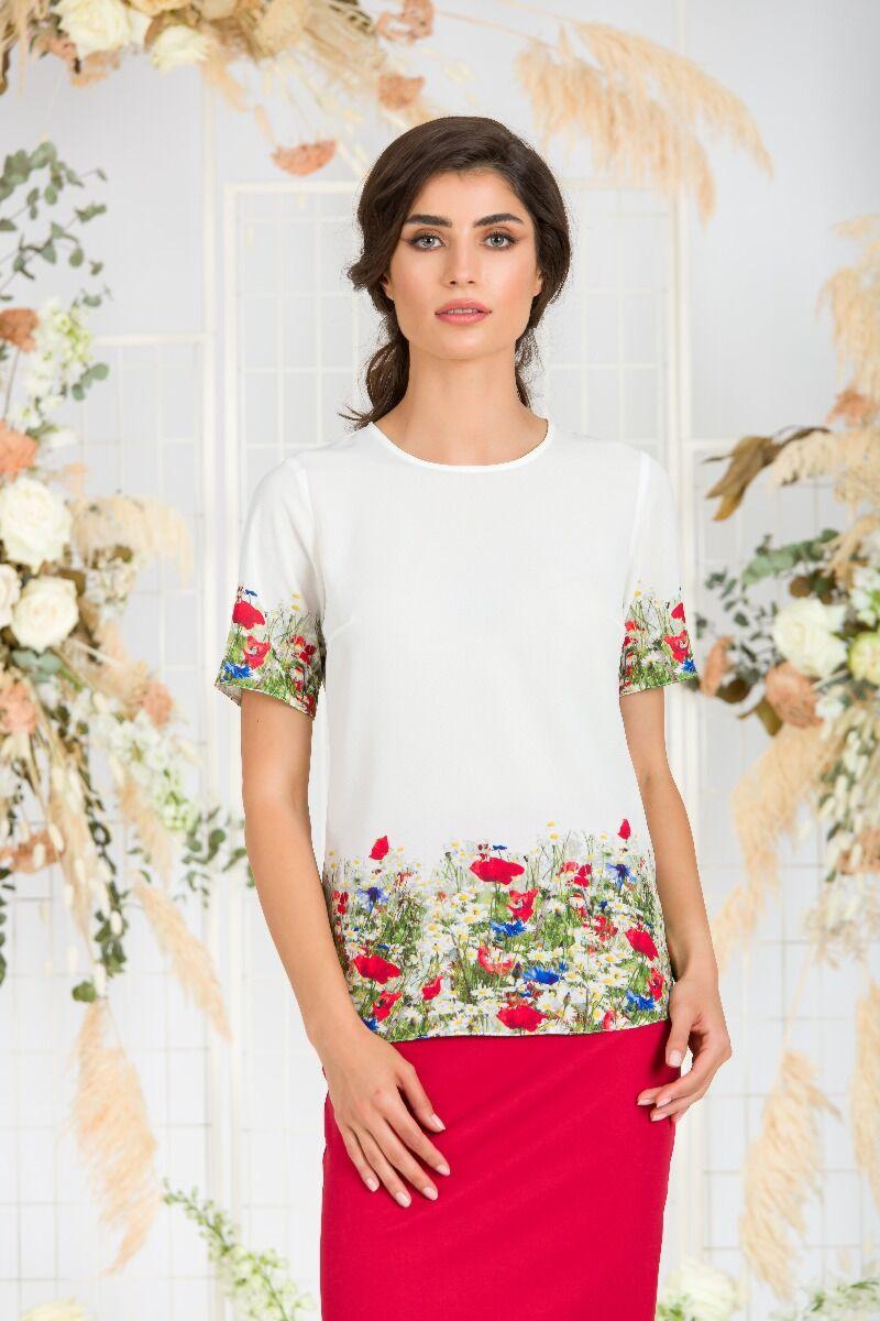Bluza alba de vara cu maneca scurta si imprimeu Flori de camp CMD755