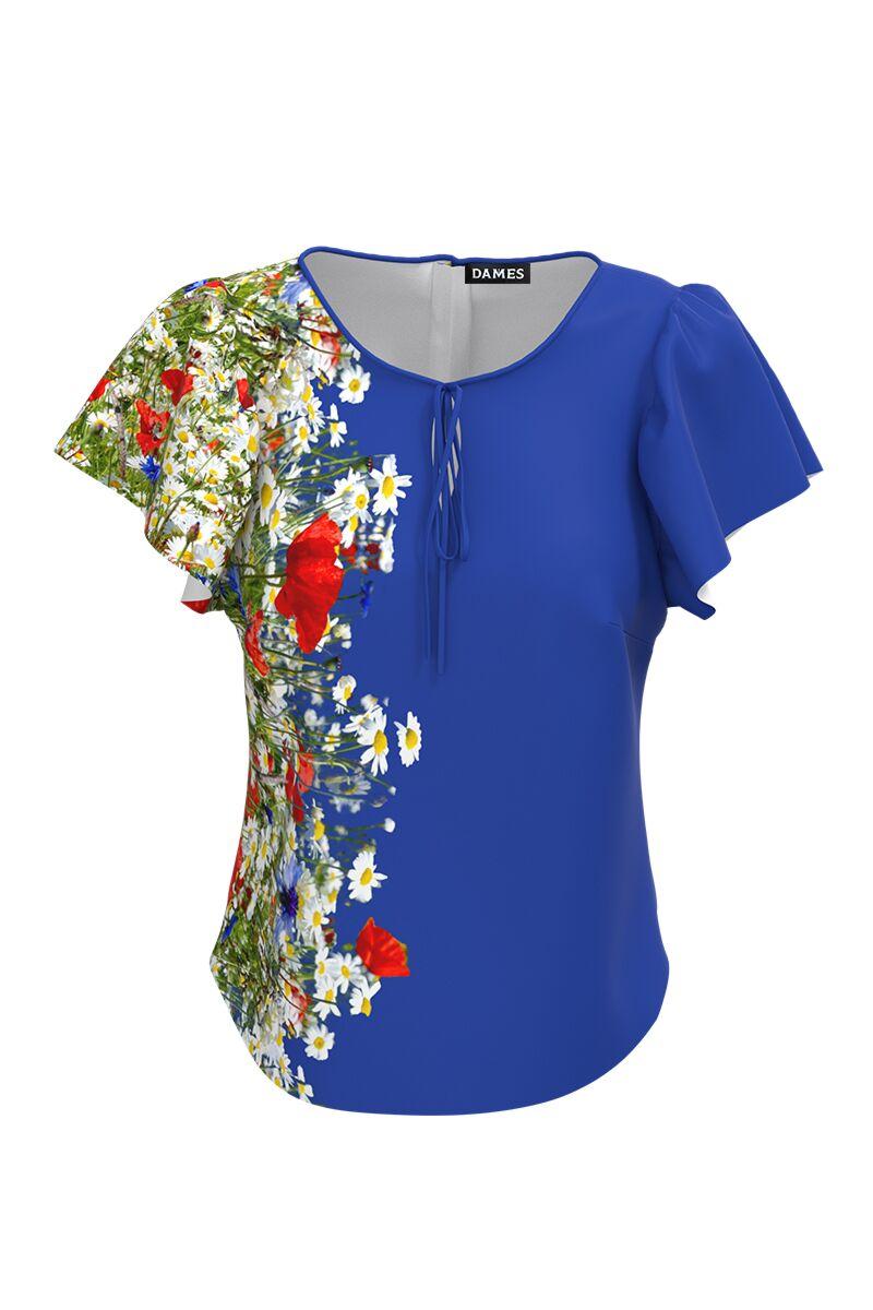 Bluza albastra cu imprimeu Flori de camp CMD575