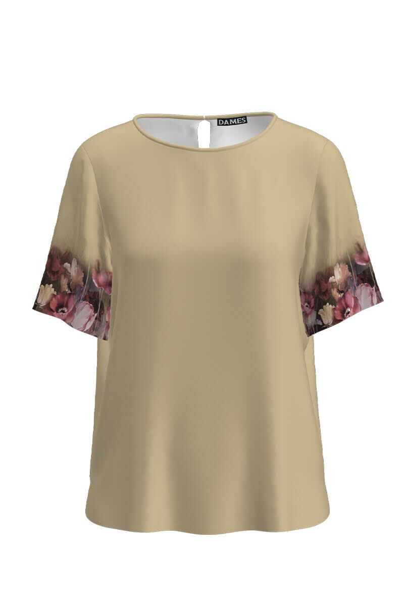 Bluza bej de vara cu maneca scurta si imprimeu floral CMD1146