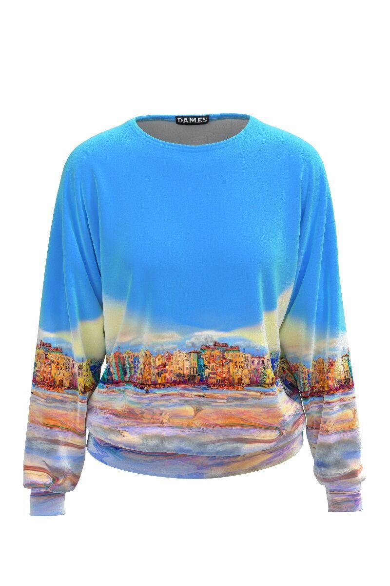 Bluza dames bleu tip hanorac din catifea cu imprimeu urban