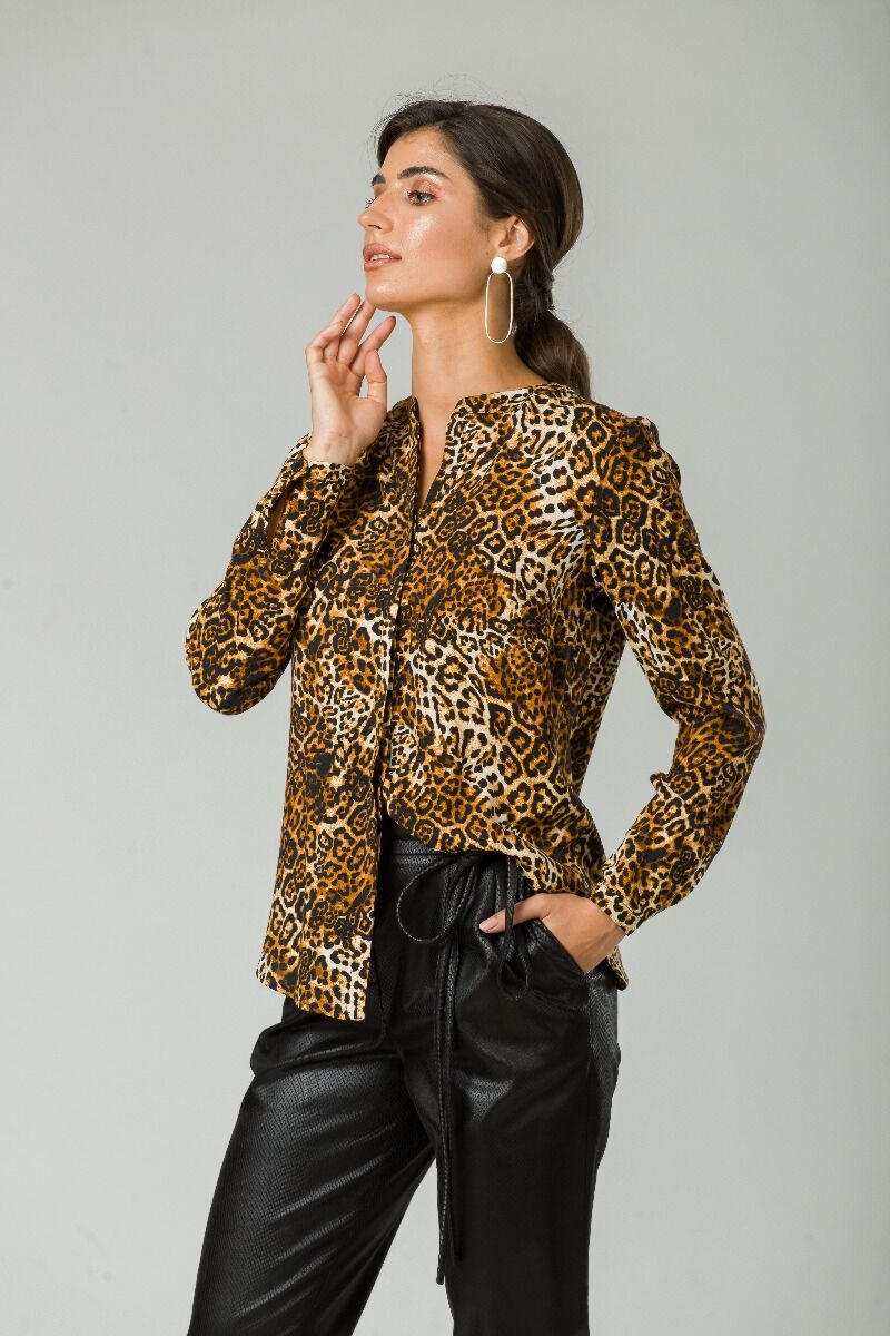 Bluza cu guler tunică animal print CMD250