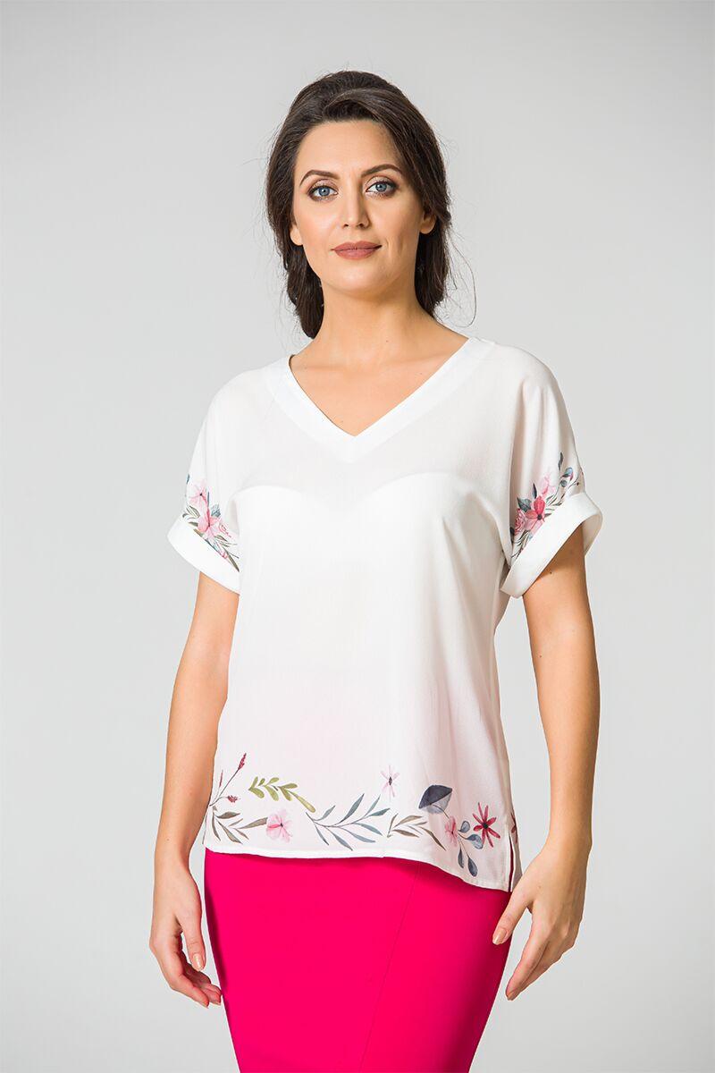 Bluza eleganta, alba cu imprimeu digital DM107