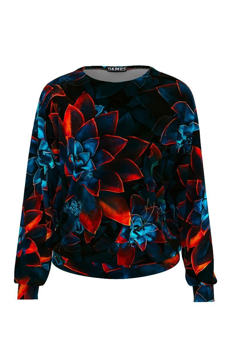 bluza de treining DAMES din catifea bleumarin, cu imprimeu floral