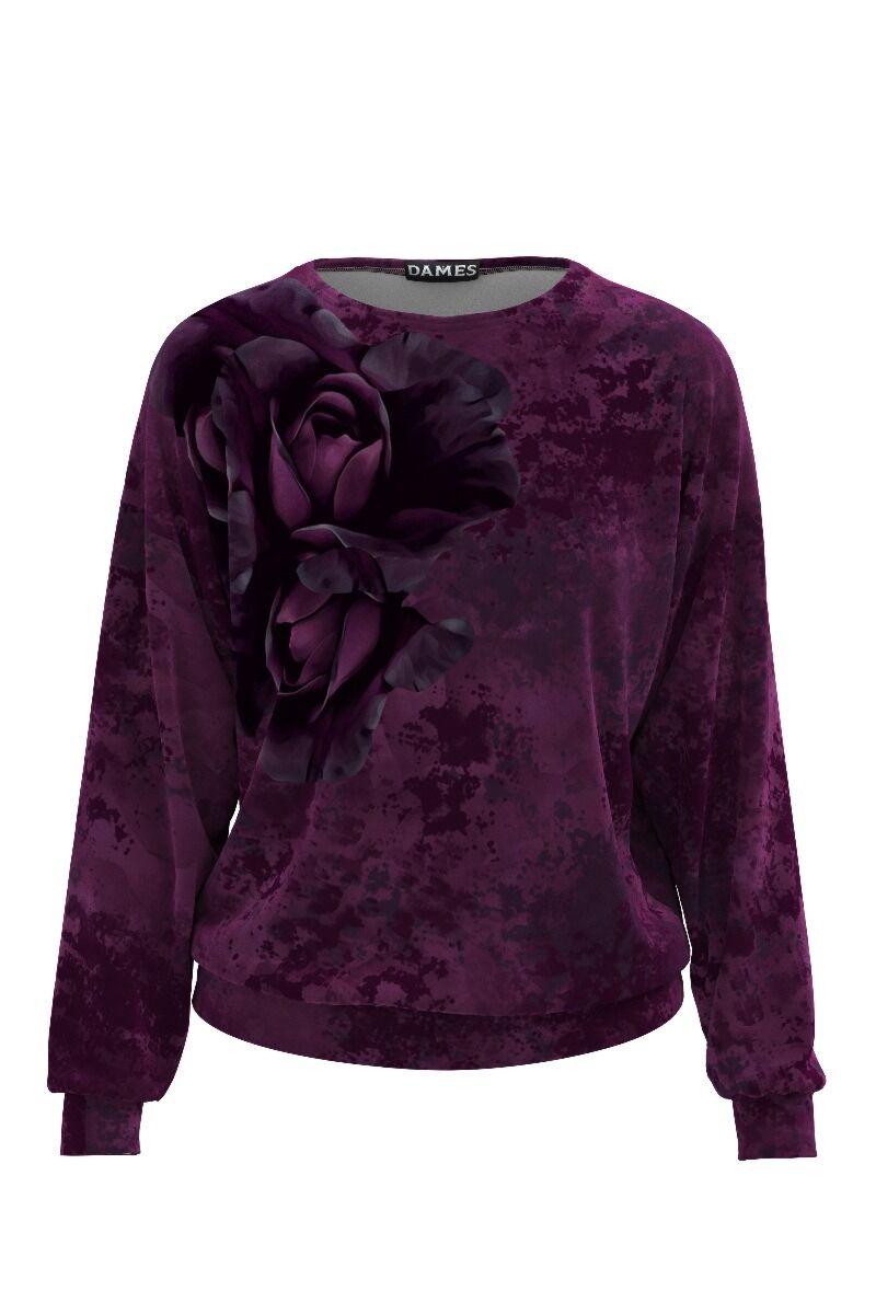 bluza DAMES din catifea, are o cromatica preponderent mov, cu detalii florale