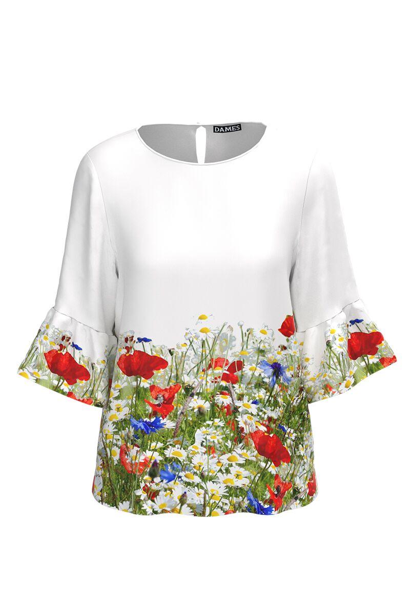Bluză DAMES alba imprimata digital cu flori de camp