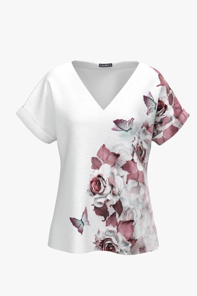 Bluza alba cu print floral  CMD561