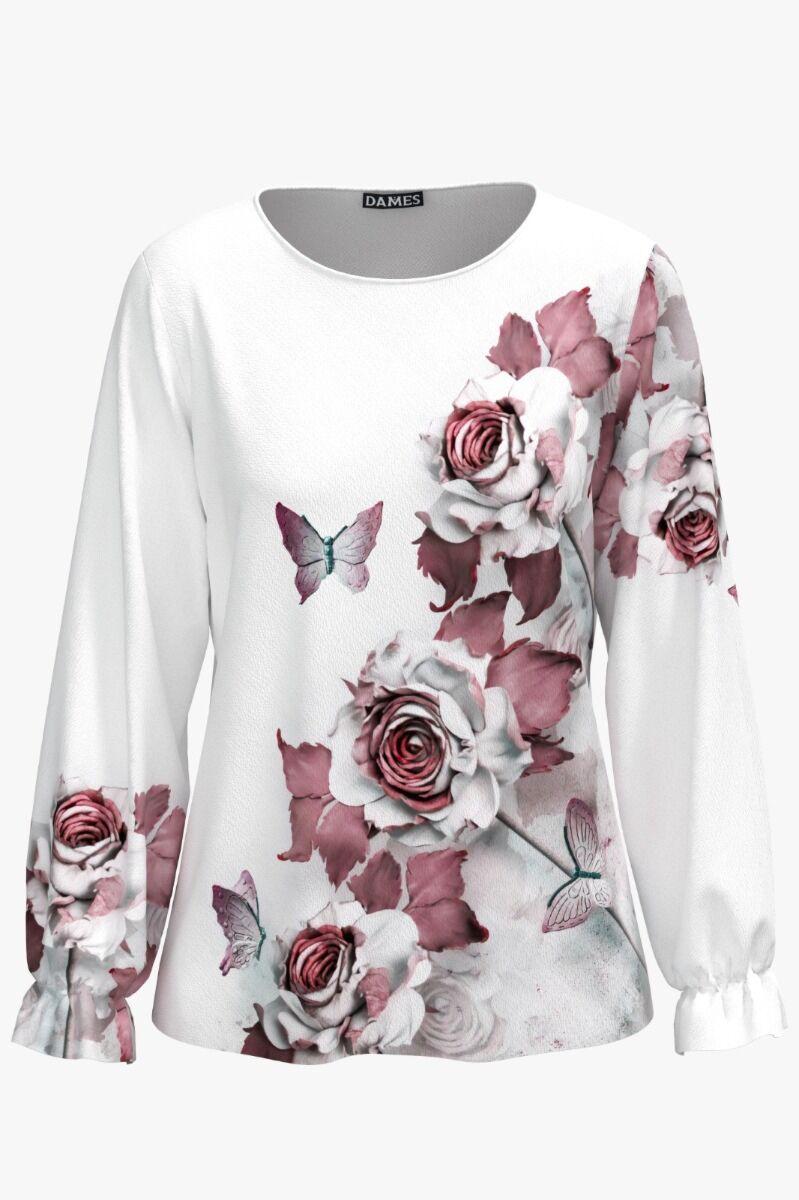 Bluză DAMES alba imprimata digital cu model floral