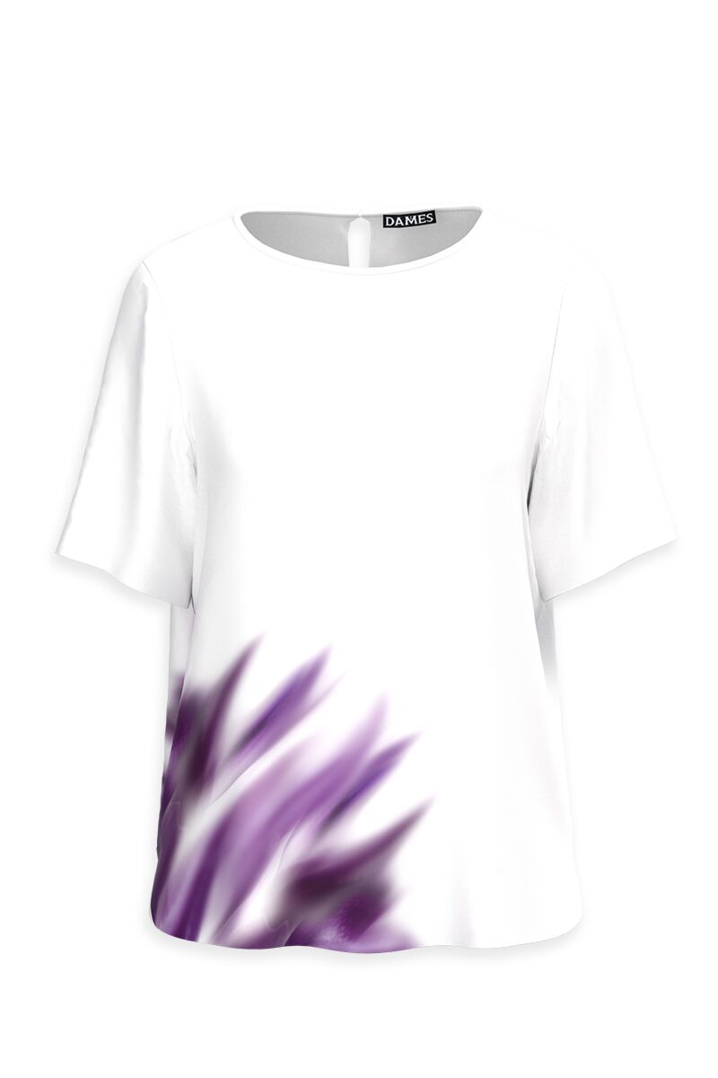 bluza DAMES alba cu imprimeu mov