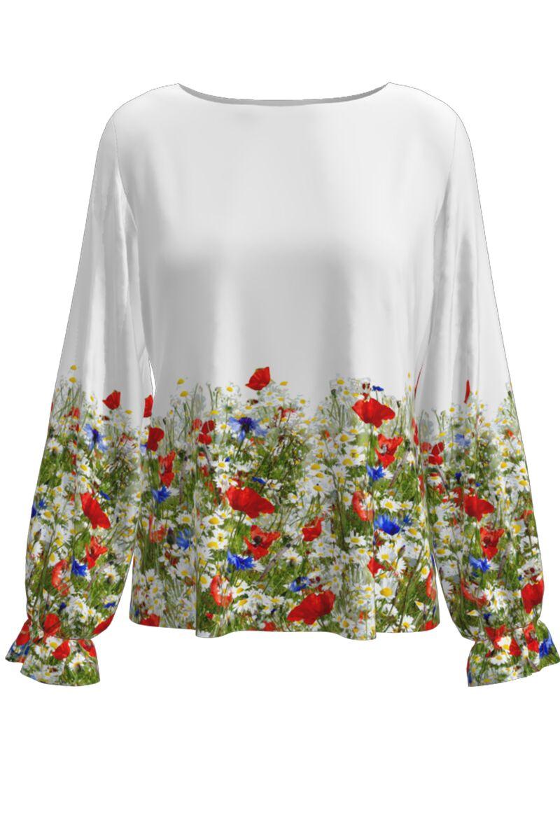 Bluză DAMES albaimprimata digital cu flori de camp.