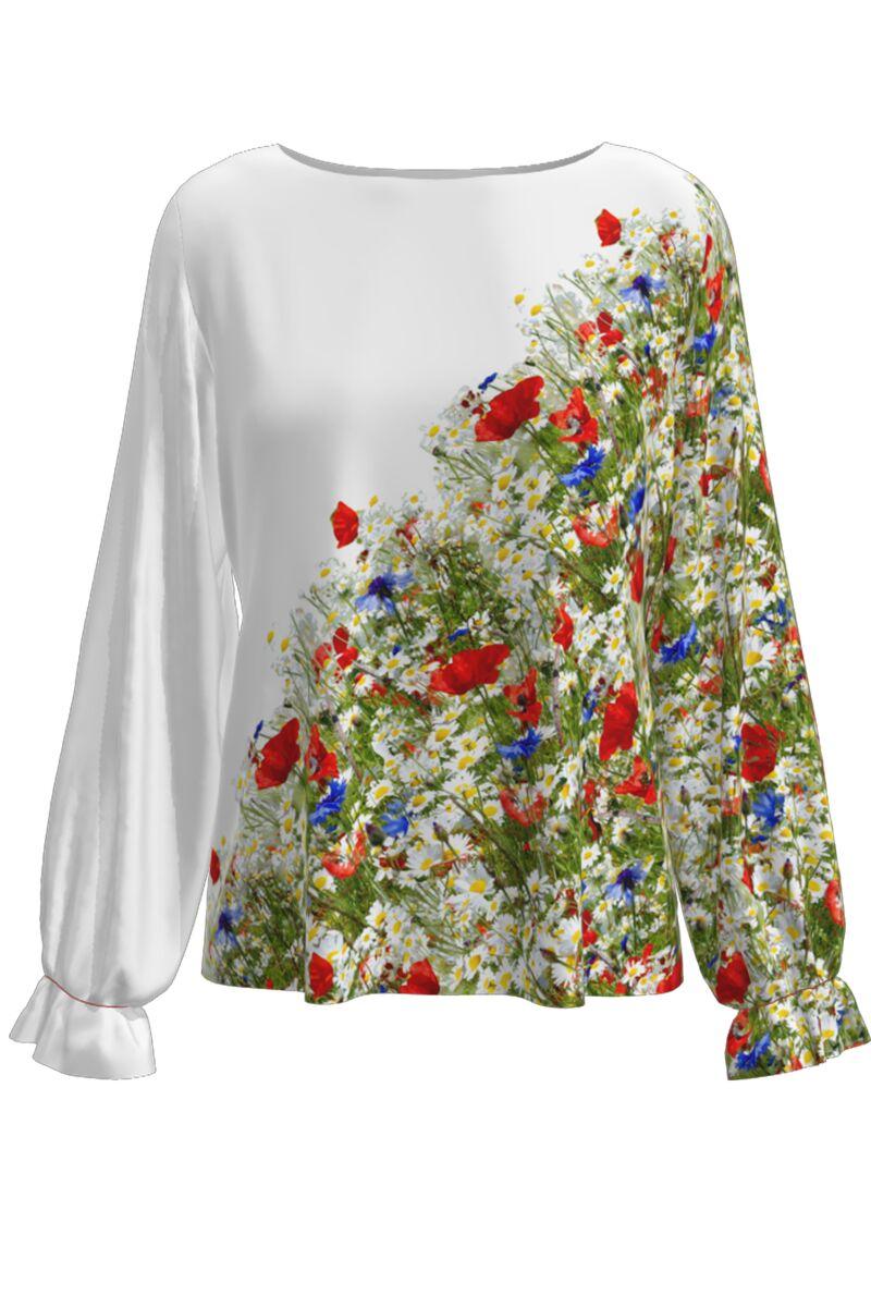 Bluză  DAMES alba cu flori de camp imprimata digital