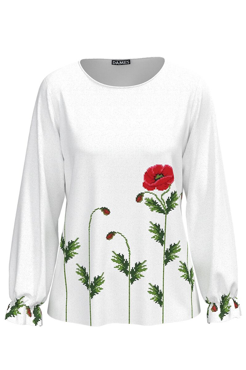 Bluza alba cu  imprimeu Maci CMD612