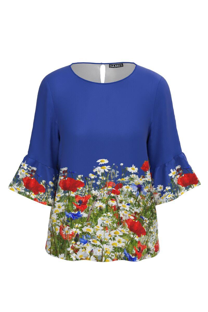 Bluză DAMES albastra imprimata digital cu flori de camp